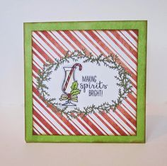 My Little Card Crafts: Making Spirits Bright. Christmas card using Stampin' Up stamp set and Spectrum Noir markers