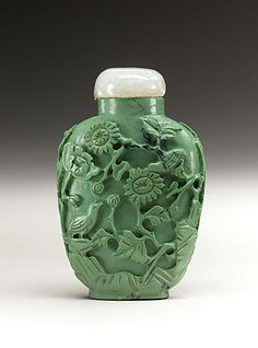Snuff Bottle (Biyanhu) with Birds and Flowers, China, Late Qing dynasty, about 1800-1911, Carved turquoise, with hardstone stopper --