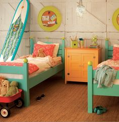 I love the color and style of these unstacked bunks for the boys