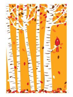 Small Autumn Cardinal Print Brich Tree Art Red Bird Art Print Petite Prints Nursery Art Autumn Leaves Trees Wall Art Home Office Decor Autumn Art, Autumn Leaves, Autumn Trees, Autumn Flowers, Autumn Cozy, Autumn Painting, Autumn Forest, Autumn Style, Painting Art