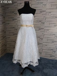 2018 New Lace Strapless Tea Length Women Vestidos White   Ivory Wedding  Dresses 4705905f31c1