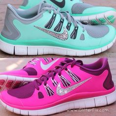 Not a fan of Nike, they are crapola for my GF classes...   But... Sparkles, hot pink and mint!!!! The little girl in me is dying!