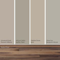Cool khaki paint picks. These soft, subtle hues pick up the warm, rich shades in a walnut wood floor nicely.    From left to right: Universal Khaki SW6150, from Sherwin-Williams; African Delta 159-4, from Mythic Paint; Pebble Stone 750D-4, from Behr; and Silver Fox 2108-50, from Benjamin Moore.