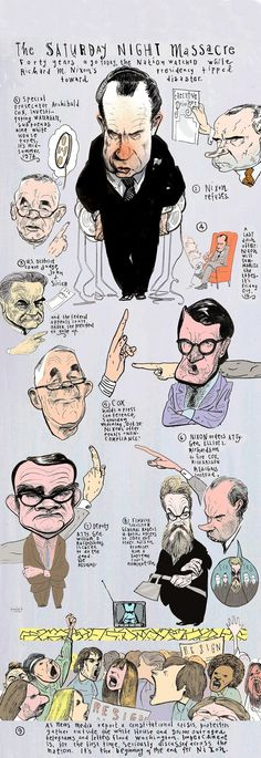 "An illustrated guide to key figures in Nixon's ""Saturday Night Massacre"" by artist Steve Brodner."