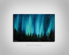 Small Galaxy painting Valentines Day Night sky Northern lights painting Landscape painting Aurora borealis Oil painting on canvas Home decor Light Painting, Simple Oil Painting, Galaxy Painting, Large Painting, Oil Painting On Canvas, Painting & Drawing, Aurora Borealis, Light Art, Night Skies