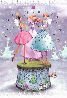 cute picture to paint for Ashley, Christmas card folded by Mila Marquis, MarquisWonderland Christmas Music Box, Christmas Fairy, Vintage Christmas, Christmas Cards, Illustration Noel, Christmas Illustration, Birthday Greetings, Birthday Wishes, Decoupage