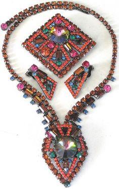 Juliana Book Piece RARE Neon Geometric Rhinestone Necklace Pin Earring Set | eBay