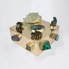 Kelly Wearstler | Aquamarine & Kyanite Bauble Box with semi-precious stones handcrafted by artisans in Los Angeles