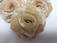 Burlap Roses with Lace Burlap and Lace Flowers Burlap Flowers Burlap Roses Burlap with lace- Rustic wedding decor Shabby Flowers, Burlap Flowers, Lace Flowers, Fabric Flowers, Burlap Rosettes, Burlap Lace, Burlap Fabric, Burlap Wreaths, Burlap Bows