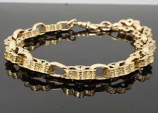 "9Carat Rose Gold 8.5"" Victorian Watch Chain Bracelet 3.5 & 10mm Wide Links"