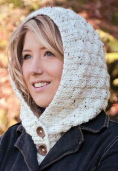 Free Knitting Pattern for Hooded Tweed Collar - Buttoned hood from Mary Maxim.