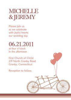 Bicycle Free Printable Wedding Invitation Template | Printable Invitation Kits