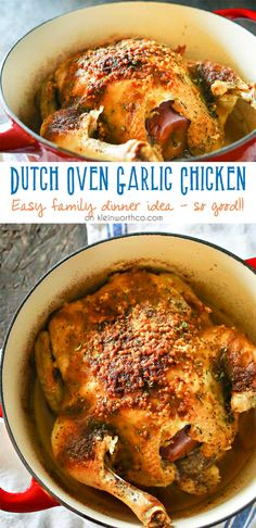 Dutch Oven Garlic Chicken is a simple chicken dinner recipe that takes just a few minutes of prep & a couple hours to cook. Easy family dinner ideas like roasted chicken are great! I love how simple i (Garlic Chicken Recipes) Oven Roasted Chicken, Roast Chicken Recipes, Garlic Chicken, Whole Chicken Recipes Oven, Roast Chicken Recipe Dutch Oven, Roasting Chicken In Oven, Pepper Chicken, Recipe Chicken, Creamy Chicken