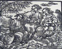 Voight, Elizabeth (1898-1977) Studied in Germany under Kathe Kollwitz Three Women and a Child Woodcut, c. 1935
