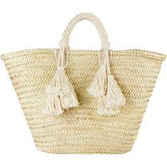 Ilaria Fringe Tassel Tote Bag ($120) ❤ liked on Polyvore featuring bags, handbags, tote bags, ivory, handbag tote, woven tote, beach bag, woven beach bag and leather purses