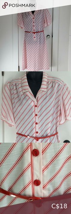Vintage candy striped shirt dress Red and white chemise dress by Pour Vous. Shirt collar front, vinyl red belt and puffy sleeves. Wear belted or unbelted. Underarm to underarm Waist circumference (unbelted) Belt circumference 38 - Vintage Dresses Chemise Dress, Red Belt, Vintage Candy, Striped Shirt Dress, Candy Stripes, Dress Red, Underarm, Vintage Dresses, Vintage Ladies
