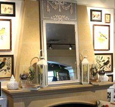 troumeau mirror, lanterns, books, accents
