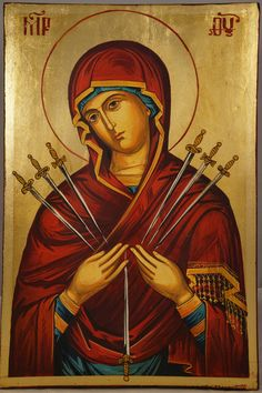 High quality hand-painted Orthodox icon of Softener of Evil Hearts. BlessedMart offers Religious icons in old Byzantine, Greek, Russian and Catholic style. Religious Icons, Religious Art, La Salette, Madonna, Paint Icon, Our Lady Of Sorrows, Catholic Art, Catholic Traditions, Roman Catholic