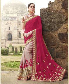 Buy Statuesque Pink & Mauve Fashion Saree online at  https://www.a1designerwear.com/statuesque-pink-mauve-fashion-sarees  Price: $70.77 USD