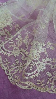 Exquisite 19th C. French hand embellished ecru tulle lace veil floral motifs