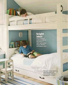 bunk beds - good idea for individual lighting  shelf for books