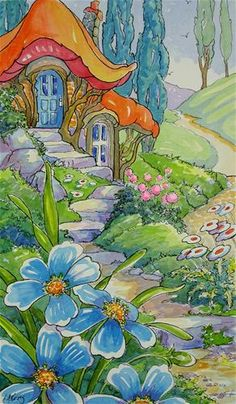 """Daily Paintworks - """"A Little Cottage Garden Storyb..."""" by Alida Akers"""