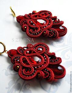 Купить Серьги Версаль - бордовый, серьги, красные серьги, длинные серьги, сутажные украшения