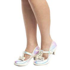 womens irregular choice white lazy river iridescent low heels