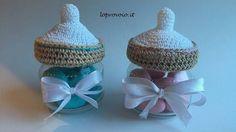 Una bella idea, con tutorial, per fare un bomboniera a uncinetto a forma di biberon riciclando i vasetti degli omogenizzati.