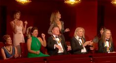 Taylor Frey (glenn's daughter)in white dress and Joe Walsh's wife dancing as Bob Seger sings Heartache tonight at the 39th Kennedy Center Honors for the Eagles.  Glenn's wife in Green dress. Henley,Walsh and Schmit