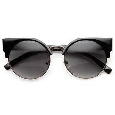 zeroUV Round Circle Half Frame Semi-Rimless Cateye Sunglasses ($9.99) ❤ liked on Polyvore featuring accessories, eyewear, sunglasses, black glasses, cat-eye glasses, cat eye sunglasses, round circle sunglasses and gold cat eye sunglasses