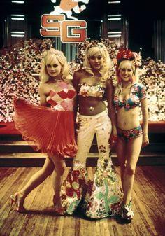 "The Barbie Trio - Jessica Alba as Disco Barbie, Marley Shelton as Evening Gown Barbie, Jordan Ladd as Malibu Barbie in ""Never Been Kissed"""