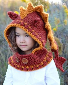 CROCHET PATTERN - Lucky Dragon Hood & Cowl - a crochet dragon hood pattern pixie hood (Toddler/Child/Adult sizes) - Instant PDF Download (5.50 USD) by TheHatandI