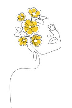 Mustard Bloom Girl Art Print by Explicit Design - X-Small Arte Inspo, Abstract Face Art, Abstract Drawings, Outline Art, Art Drawings Sketches Simple, Summer Drawings, Diy Canvas Art, Small Canvas Art, Art And Illustration
