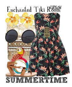 """""""Enchanted Tiki Room"""" by tallybow ❤ liked on Polyvore featuring Skemo, New Look, Betsey Johnson and Breckelle's"""