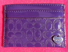 NWT ❤️ Coach Preforated Navy / Purple Embossed Liquid Gloss Card Wallet 62405