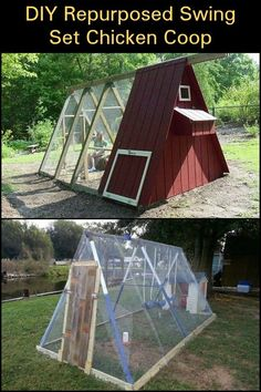 Chicken Coop - - Got an old swing set? Building a chicken coop does not have to be tricky nor does it have to set you back a ton of scratch. A Frame Chicken Coop, Chicken Barn, Chicken Life, Backyard Chicken Coops, Chicken Coop Plans, Building A Chicken Coop, Diy Chicken Coop, Chickens Backyard, Chicken Houses