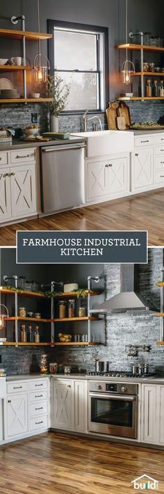How to recreate this farmhouse industrial kitchen industrial farmhousefarmhouse decorfarmhouse