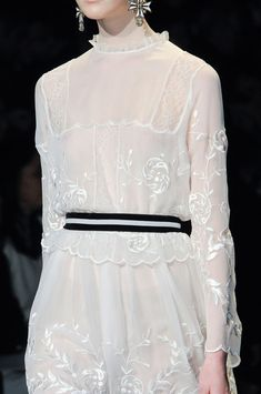 White embroidered dress with striped belt; feminine fashion details // Alberta Ferretti Fall 2013