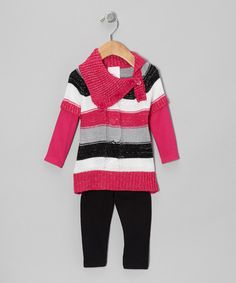 This Pink Stripe Sweater Tunic & Black Leggings - Infant by Nannette is perfect! #zulilyfinds