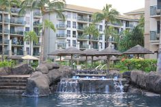 Westin Villas, Maui - resort pool.  Very long & winding black-bottomed pool.  Wonderful design.