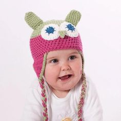 Little Owl Beanie – Pink & Green from Kids' Animal Beanies - R249 (Save 0%)