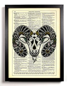 Aries Astrology Zodiac Ram Repurposed Upcycled by StayGoldMedia, $6.99