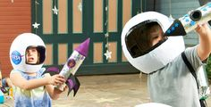 Build a Space Rocket Ship with your kids. Perfect DIY craft for a rainy day.