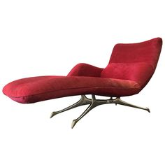 VK Chaise by Vladimir Kagan Covered in Red Fur