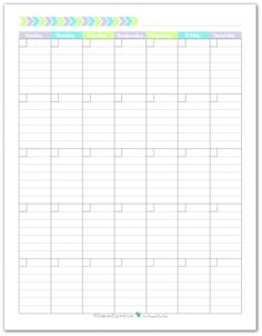 Blank monthly calendar printable with the weeks starting on Sunday. In a portrait layout with lined boxes.