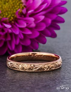 Rose Gold Engraved Wedding Band. Green Lake Jewelry
