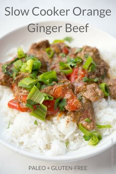 Slow Cooker Orange Ginger Beef - a gluten-free and Paleo Asian-inspired main dish recipe that you can make in your crockpot Healthy Beef Recipes, Real Food Recipes, Free Recipes, Meat Recipes, Healthy Food, Slow Cooker Beef, Slow Cooker Recipes, Crockpot Recipes, Ginger Beef