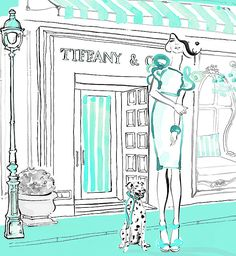 Tiffany & Co Shopping Illustration also appeared on a series of silk cushions for The Brown Trading Co Megan Hess Illustration, Illustration Art, Color Azul Tiffany, Kerrie Hess, Arte Fashion, Girl Fashion, Tiffany & Co., Fashion Sketches, Fashion Illustrations