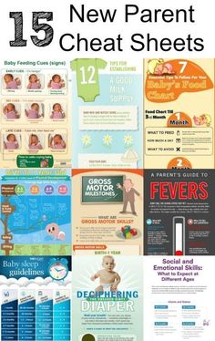 Parenting Cheat Sheets - Helpful Charts and Great Resources for New Parents! Baby feeding guides, baby food charts, baby sleep guidelines and more!